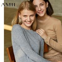【AMII大牌日折上2件4折】AMII[极简主义]优雅气质100%羊绒毛衣女2017秋冬修身圆领上衣