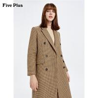 FIVE PLUS2019新款女冬装长款格子毛呢大衣女西装领外套双排扣饰