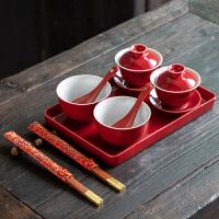 茶具陶瓷大号茶具�Y婚红改口礼物敬茶用红色盖碗儿敬茶杯套餐碗中秋节婚庆礼品喜茶杯
