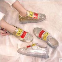 港味鞋子女运动鞋平底松糕水钻鞋水晶厚底增高老爹鞋ins潮