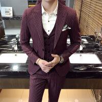 17新款男士英伦伴郎新郎礼服修身条纹西装马甲西裤三件套职业装