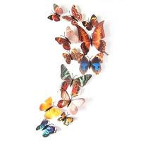 3d仿真蝴蝶立体创意客厅卧室背景电视墙壁彩色蝴蝶冰箱贴墙贴贴画 玫红色 双层12只 中