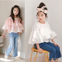 2018春夏新款韩版童装女童纯棉喇叭袖娃娃衫中大儿童T恤公主上衣
