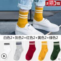 10双袜子女士纯棉中筒袜韩国学院风二条杠短筒袜户外新品韩版百搭长