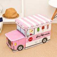 儿童玩具收纳凳储物凳子可坐人折叠收纳箱筐多功能宝宝卡通整理盒 粉红色 带头冰淇凌车 儿童玩具收纳凳