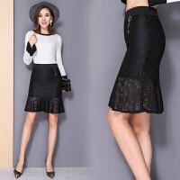 秋冬装新款女装半身裙子鱼尾蕾丝裙春秋季黑色性感包臀裙显瘦中裙