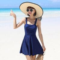 游泳衣女保守新款显瘦遮肚时尚性感韩国连体裙式平角 温泉泳装