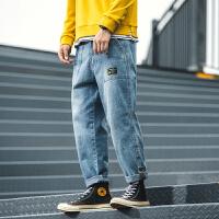 牛仔裤宽松男士大码直筒休闲裤2019秋冬季新款青少年学生哈伦裤潮
