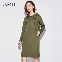 Amii[极简主义]别致刺绣 纯棉连衣裙女 秋装新款长袖宽松连帽