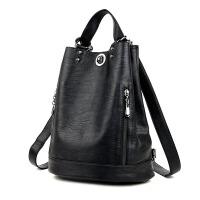 双肩包女软皮潮包包大容量旅行水桶包时尚妈咪包两用背包2017新款