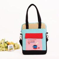 七夕礼物韩版棉质布艺儿童包包背包斜挎包书包手提包时尚小学生补习包 蓝色
