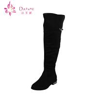 Daphne/达芙妮 秋冬时尚女鞋 舒适过膝盖长靴 低跟方跟高筒长靴