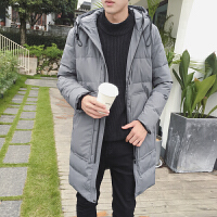 男士羽绒服中长款韩版修身2017冬装加厚保暖学生连帽大衣休闲外套