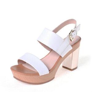 Daphne/达芙妮女鞋 粗高跟时尚简约百搭夏季女凉鞋