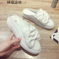 小白鞋女2018春季新款韩版百搭学生无后跟帆布鞋厚底小白鞋半拖鞋