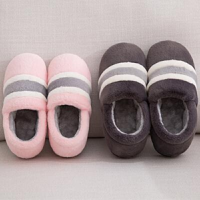 时尚全包跟棉拖鞋女冬季室内可爱家居毛拖鞋情侣防滑保暖加厚大码棉鞋 品质保证 售后无忧