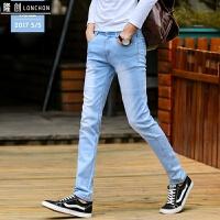秋冬新款牛仔裤男士弹力修身小脚裤加厚青少年帅气黑灰色长裤显瘦