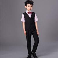 儿童礼服 钢琴演出合唱服夏秋 男童马甲衬衫套装