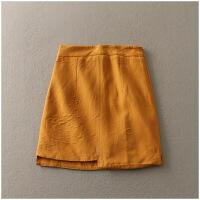 夏季修身A字裙纯色高腰包臀半身裙女23949