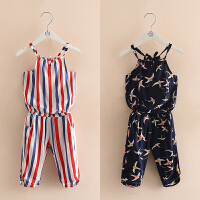 宝宝套装夏装新款女童童装儿童吊带上衣裤子两件套