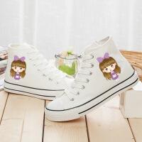 2017学生平底高帮夜光涂鸦布鞋手绘初中生女鞋休闲帆布鞋