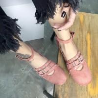 2017春季新款丝绒水钻铆钉搭扣芭蕾舞圆头平底女鞋浅口单鞋百搭潮