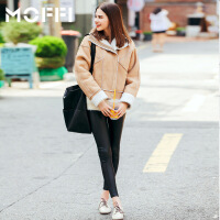 冬季新款欧美风羊羔毛外套皮毛一体廓形显瘦时尚女式外套 卡其色