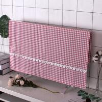 挂式电视机罩布艺液晶电视机套50寸55寸电视机罩蕾丝罩子 粉红色 粉色格子