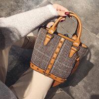韩版女式时尚毛呢小包包水桶包单肩斜挎手提包