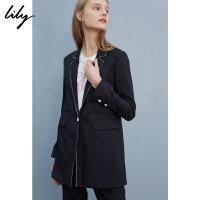 Lily2018秋新款女装商务通勤一粒扣条纹显瘦西装118149C2905