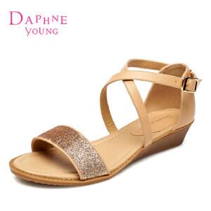 Daphne达芙妮正品女凉鞋 夏季 女鞋 罗马风格包跟露趾凉鞋