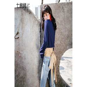 七格格设计感t恤女长袖韩版百搭春装新款ins学生外穿心机上衣打底衫