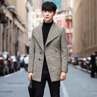 秋冬商务休闲潮流男士毛呢外套中长款风衣男学生帅气韩版呢料大衣
