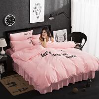色床上用品 1.5m棉磨毛床单被套四件套1.8米棉J