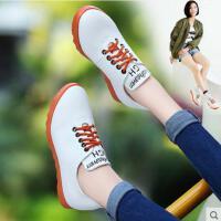 古奇天伦韩版春季秋季新款休闲鞋百搭 平底单鞋小白鞋内增高女鞋子NR752