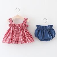 女童洋气套装夏季儿童吊带格子背心两件套婴儿宝宝夏装潮衣