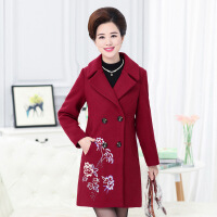 中老年女装秋冬新款羊毛呢大衣中长款修身绣花妈妈装高档女式外套