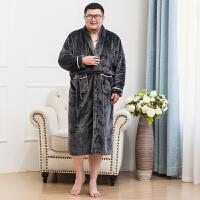秋冬季加肥加大码珊瑚绒法兰绒睡衣套装男肥佬家居服胖子加厚开衫