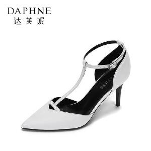 Daphne/达芙妮 春夏优雅尖头超高跟鞋 时尚丁字型扣带细跟单鞋-