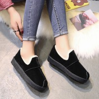 韩版加厚棉鞋女平底马丁鞋冬季室外保暖学生百搭一脚蹬女鞋