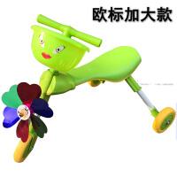 宝宝学步踏行车小孩螳螂车儿童溜溜车1-3岁玩具可折叠滑行三轮车 绿欧标加大款 +风车+篮子