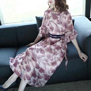 RANJU 然聚2018女装夏季新品新款潮流时尚印花连衣裙女夏季名媛气质荷叶边裙子
