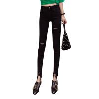 18春夏新版时尚高腰破洞裤脚不规则百搭显瘦个性纯色铅笔牛仔裤