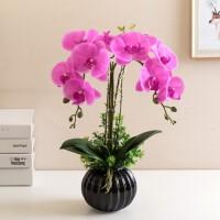 仿真花套装蝴蝶兰客厅办公室餐桌摆件装饰花艺假花塑料花插花盆栽
