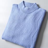 2018秋季新款羊绒羊毛 男士半高领套头毛衣羊毛衫 蓝色