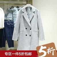 毛呢大衣冬装新款 西装领纯色双排扣呢子外套 商场同款女装