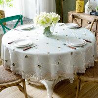 美式格子圆形桌布布艺欧式棉麻小清新餐桌布1.5米大圆桌台布家用