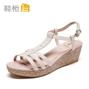 达芙妮集团 鞋柜春夏季皮带扣高跟女鞋 休闲坡跟漆面凉鞋