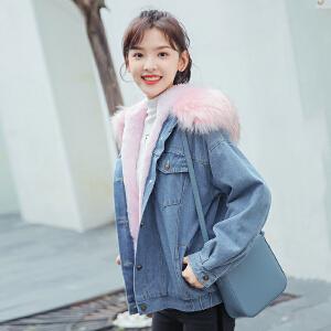 牛仔外套女2018冬季保暖加厚粉色大毛领学生宽松bf外套
