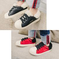 2017男童加绒休闲皮鞋儿童保暖系带鞋子宝宝冬季板鞋时尚韩版皮鞋